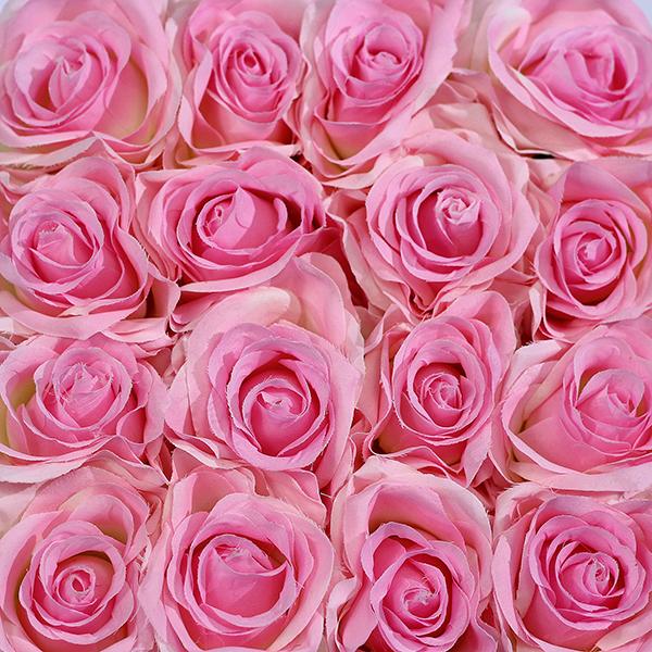 Hoa Lụa Hộp Vuông Trắng – Màu Hồng