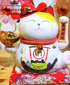 Mèo Thần Tài Vẫy Tay Trái - Lộc Tiến Vinh Hoa