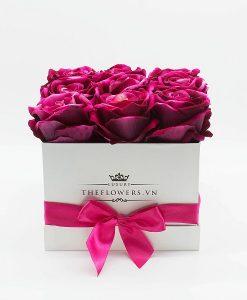 Hoa Lụa Hộp Vuông Trắng - Màu Hồng Cánh Sen