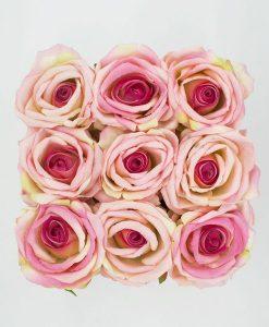 Hoa Lụa Hộp Vuông Trắng - Màu Hồng