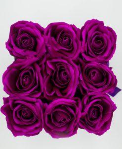 Hoa hồng lụa màu tím hộp vuông