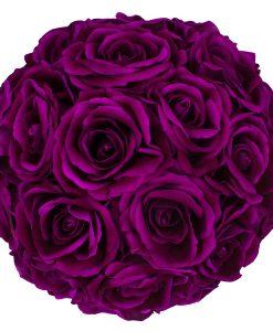 Hoa Lụa Màu Tím - Hộp Tròn Trắng