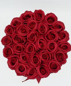 Hoa Sáp Màu Đỏ – Hộp Tròn Đen