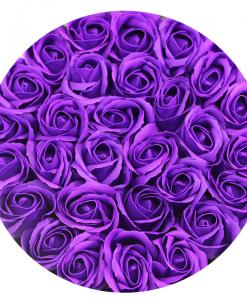 Hoa Sáp Màu Tím – Hộp Tròn Trắng