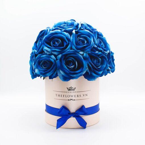 Hoa hồng lụa màu xanh hộp tròn hồng - Điện hoa TpHCM