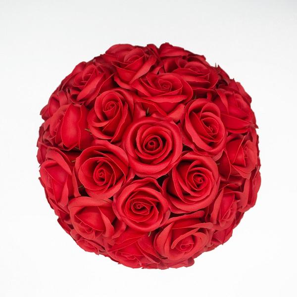 Hoa hồng sáp màu đỏ hộp tròn