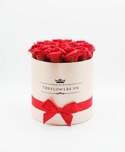 Hoa hồng sáp màu đỏ hộp tròn hồng