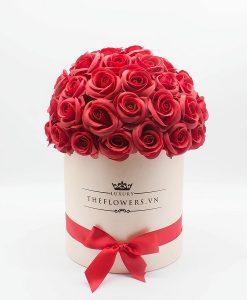 Hoa hồng sáp màu đỏ hộp tròn hồng đặc biệt