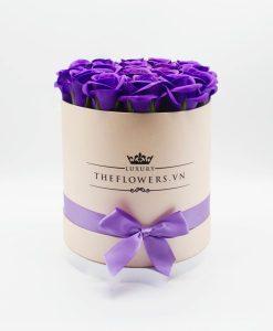 Hoa hồng sáp màu tím hộp tròn hồng
