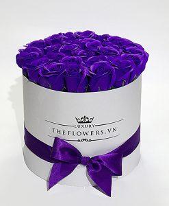 hoa sáp hộp tròn trắng màu tim quà tặng 20 10