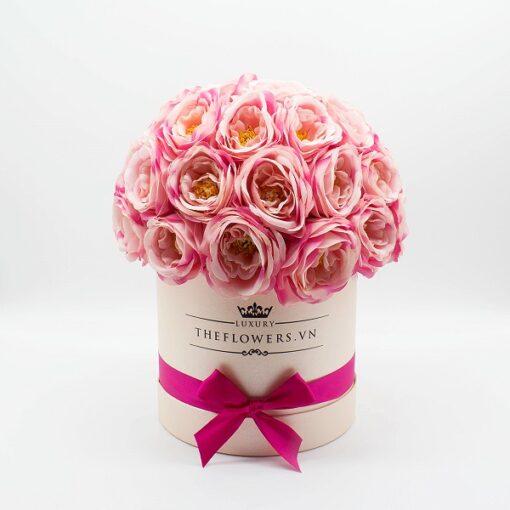 Hoa hồng lụa màu hồng hộp tròn hồng size M
