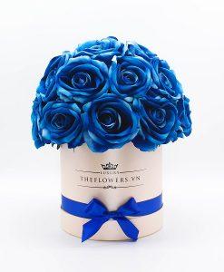 Hoa hồng lụa màu xanh hộp tròn hồng size M