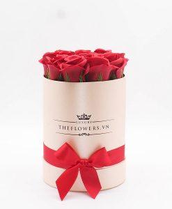 Hoa hồng sáp màu đỏ hộp tròn hồng - Quà tặng 20 11