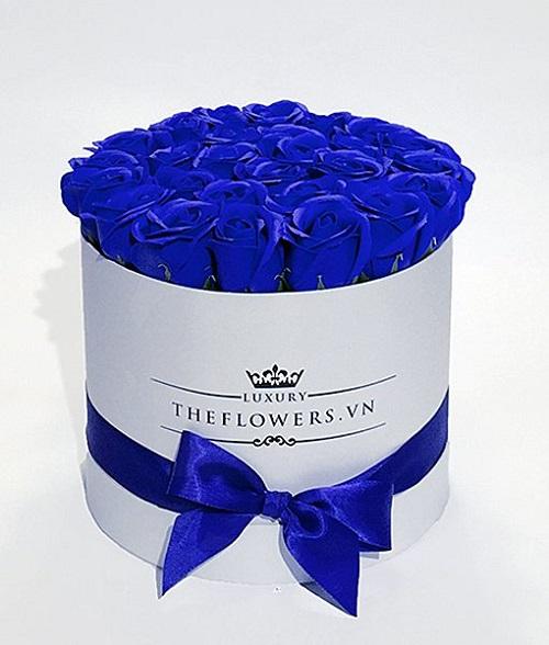 Hoa hồng sáp xanh biển hộp tròn trắng - hoa chúc mừng 20 11