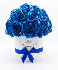 Hoa Hồng Lụa Màu Xanh Hộp Tròn Trắng Size M – Quà Valentine cho bạn trai