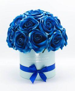 Hoa hồng lụa màu xanh hộp tròn xanh size M - Quà tặng Valentine