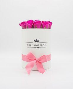 Hoa sáp màu hồng hộp tròn trắng