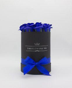 Hoa sáp màu xanh biển hộp tròn đen size S