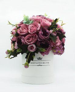 Hoa lụa phối màu tím hồng