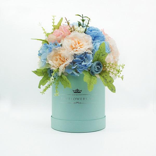 Hoa Lụa Phối Màu Xanh Hồng - Hộp Tròn Xanh Size M