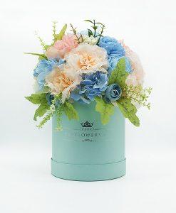 Hoa lụa phối màu xanh hồng