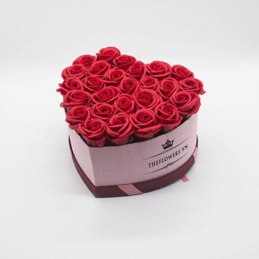 Hoasáp màu đỏ hộp trái tim size M