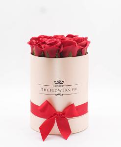 Hoa sáp Màu Đỏ Hộp Tròn Hồng Size S - Hoa Sinh Nhật