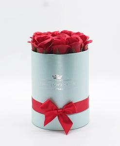 Hoa sáp Màu Đỏ Hộp Tròn Xanh Size S - Hoa Sinh Nhật