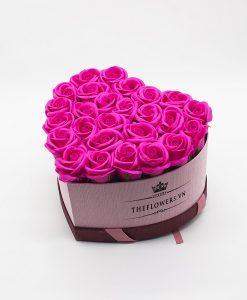 Hoasáp màu hồng hộp trái tim hồng size M