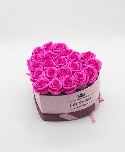 Hoasáp màu hồng hộp trái tim hồng