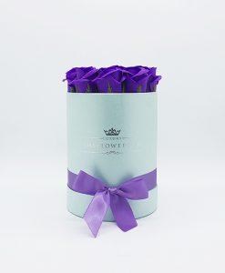 Hoa sáp Màu Tím Hộp Tròn Xanh Size S - Mẫu Hoa Sinh Nhật Đẹp