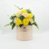 Hoa Lụa Phối Màu Kem Vàng Hộp Hồng Size M - Hoa Sinh Nhật Đẹp