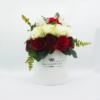 Hoa Lụa Phối Màu Trắng Đỏ Kem Hộp Trắng Size M - Hoa Sinh Nhật