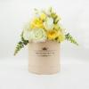 Hoa Lụa Phối Màu Trắng Vàng Hộp Hồng Size M - Hoa Sinh Nhật Đẹp