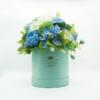 Hoa Lụa Phối Màu Trắng Xanh Dương Hộp Xanh Size M - Hoa Sinh Nhật