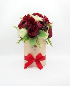 Hoa lụa phối màu đỏ kem