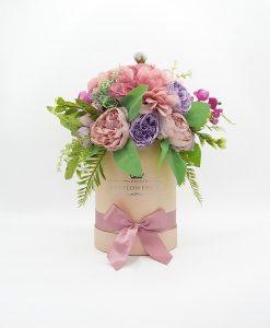 hoa lụa phối màu hồng tím nhạt